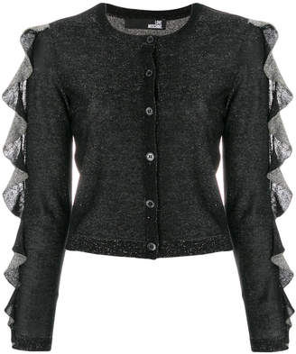 Love Moschino ruffle sleeve sparkly knit cardigan