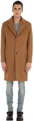 The Kooples Wool Blend Cloth Coat W/ Pin