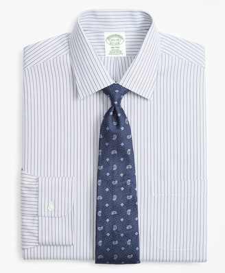 Brooks Brothers Milano Slim-Fit Dress Shirt, Non-Iron Alternating Double-Stripe