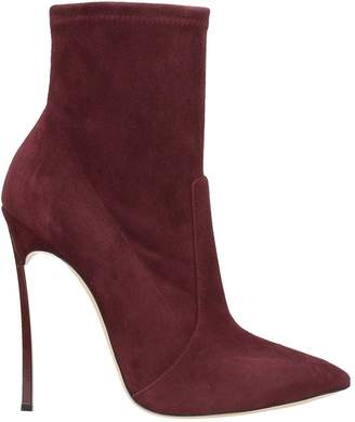 Casadei Blade Burgundy Suede Ankle Boots