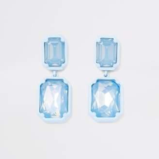 River Island Blue jewel drop clip on earrings