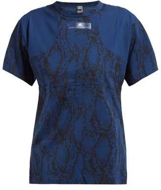 adidas by Stella McCartney Snake Print Cotton Blend T Shirt - Womens - Blue Print