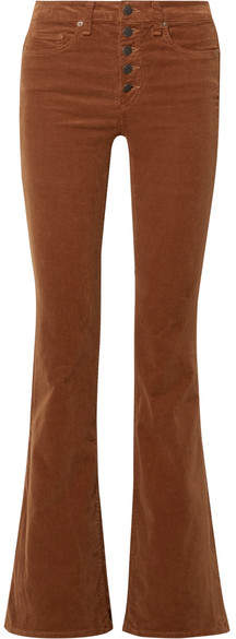 Veronica Beard - Beverly Stretch-cotton Corduroy Flared Pants - Brown