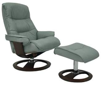 Omnia Leather Big Sur Ergo Manual Swivel Recliner with Ottoman Omnia Leather