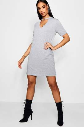 boohoo O-Ring Choker Plunge T-Shirt Dress