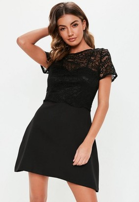 Missguided Black Lace Crop Cami Mini Dress