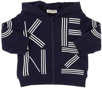 Kenzo Zip-Up Logo Cotton Sweatshirt Hoodie