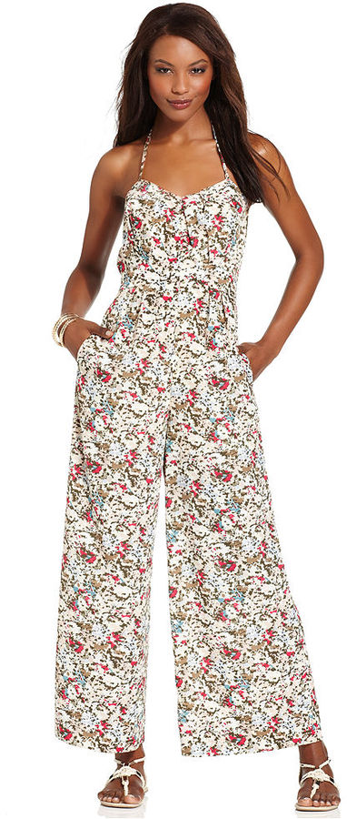 BCBGeneration Jumpsuit, Sleeveless Halter Sweetheart Printed Wide-Leg