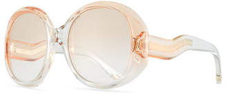 Chloé Qleo Semi-Transparent Oval Sunglasses