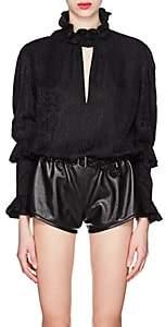 Saint Laurent Women's Ruffled Silk Jacquard Blouse - Black