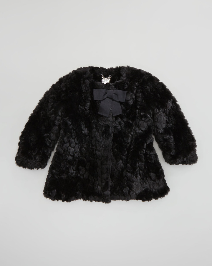 Milly Minis Cropped Faux-Fur Coat, Black