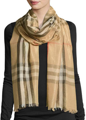 Burberry Metallic Gauze Giant Check Scarf, Camel/Gold