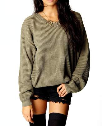 Blush Avenue Womens Ladies Oversized Baggy Long Thick Knitted Plain Chunky Top Knit Jumper S-XL (S/M, )