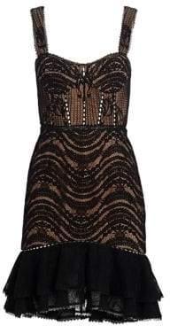Jonathan Simkhai Mixed Lace Bustier Ruffle Dress