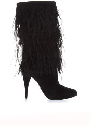 MICHAEL Michael Kors Black Suede Boots With Decorative Feathers Applied