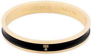 Florence London Initial T Bangle 18Ct Gold Plated With Black Enamel