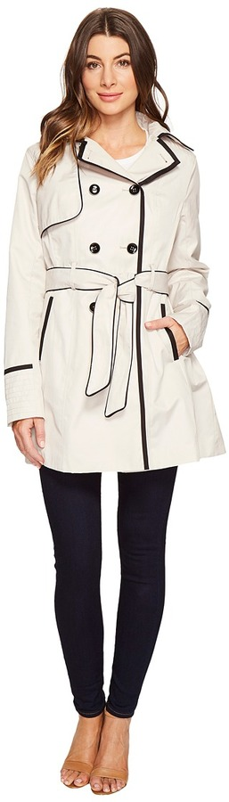 Betsey JohnsonBetsey Johnson Belted Trench Coat with Contrast Piping