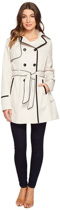 Betsey Johnson Belted Trench Coat with Contrast Piping $250 thestylecure.com