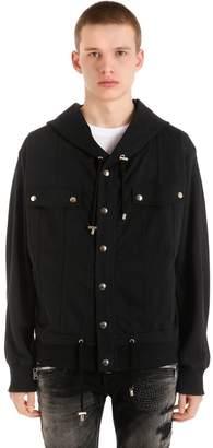 Balmain Zips Hooded Cotton Sweatshirt