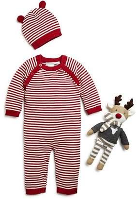 Elegant Baby Unisex Striped Romper, Hat & Reindeer Gift Set, Baby - 100% Exclusive