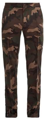 Valentino - Side Stripe Camouflage Print Cady Track Pants - Mens - Camouflage