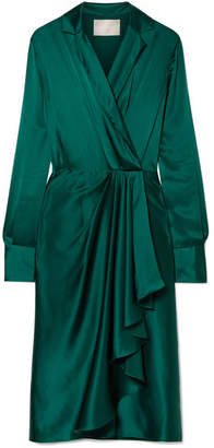 Wrap-effect Silk-charmeuse Dress - Emerald