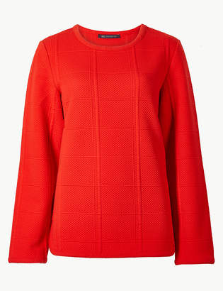 Marks and Spencer Textured Round Neck Long Sleeve Sweatshirt