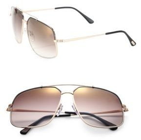 Tom Ford Eyewear Ronnie 60MM Square Metal Sunglasses $405 thestylecure.com