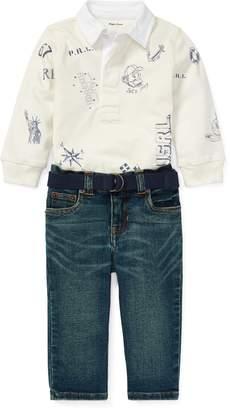 Ralph Lauren Rugby Shirt & Belted Jean Set