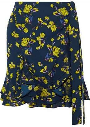 Goen.j Ruffled Floral-Print Crepe De Chine Mini Wrap Skirt