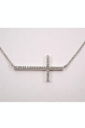"Margolin & Co White Gold Diamond Cross, Diamond Sideways CROSS, Cross Necklace, Diamond Cross Necklace, Religious Jewelry Charm 17.5"" Chain"