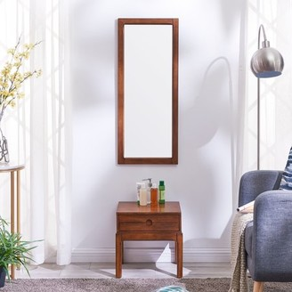 Southern Enterprises Rieley Entryway Mirror and Storage Accent Table, Dark Sienna