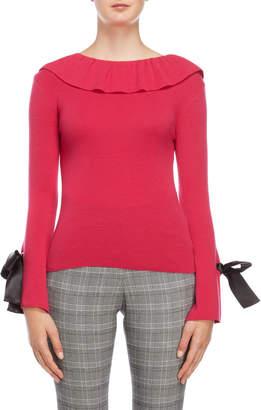 Romanchic Ruffled Low Back Bow Sweater