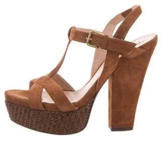 Pura Lopez Suede Platform Sandals