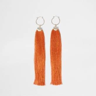 River Island Womens Orange tassel drop hoop earrings