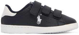 Ralph Lauren Childrenswear Logo Embroidered Leather Strap Sneakers