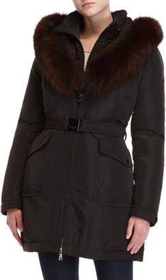 Intuition Real Fur Trim Hooded Belted Jacket