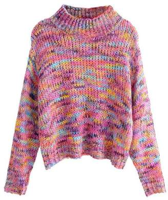 Goodnight Macaroon 'Chelby' Multi-Colored Funnel Neck Knitted Sweater