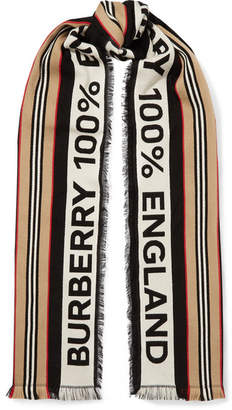 Burberry Fringed Intarsia Ribbed Cotton Scarf - Black