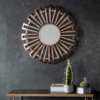 Co The Forest & Curled Bronze Metal Sunburst Mirror