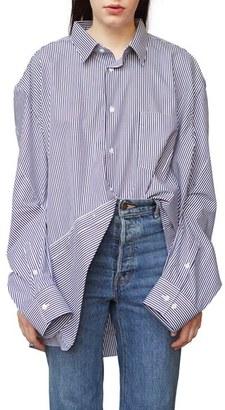 Women's Vetements Stripe Cotton Shirt $1,030 thestylecure.com