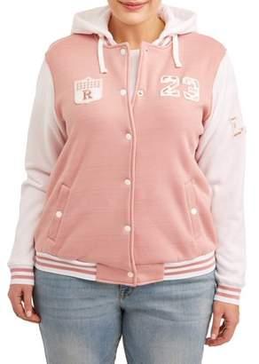 New Look Women's Plus Size Hoodie Varsity Fleece Jacket