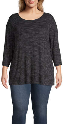 Boutique + + Long Sleeve Cross Back Textured T-Shirt - Plus
