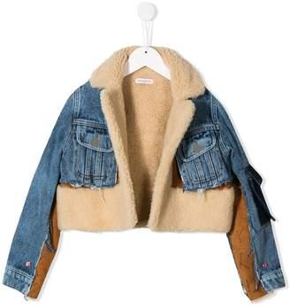 Natasha Zinko Kids contrast shearling denim jacket