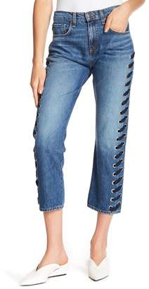 Veronica Beard Ines Lace-Up Side Jeans