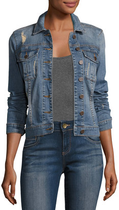 Kut from the Kloth Amelia Distressed Jean Jacket, Blue $59 thestylecure.com
