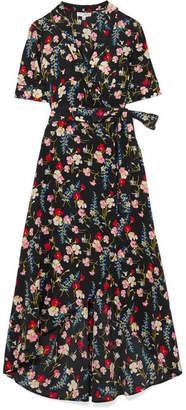 Equipment Imogene Floral-print Washed-silk Wrap Dress - Navy