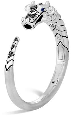 John Hardy Brushed Sterling Silver Naga Kick Cuff with Black Sapphire, Black Spinel and Blue Sapphire Eyes