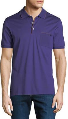 Salvatore Ferragamo Men's Contrast-Trim Jersey Polo Shirt