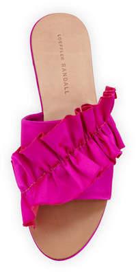 Loeffler Randall Rey Satin Ruffle Flat Sandals